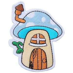 300x300 mushroom blue treehouse hobbit hole cartoon kids children iron