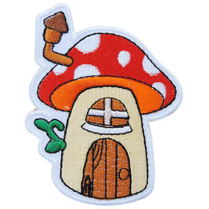 300x300 mushroom red treehouse hobbit hole cartoon kids children iron