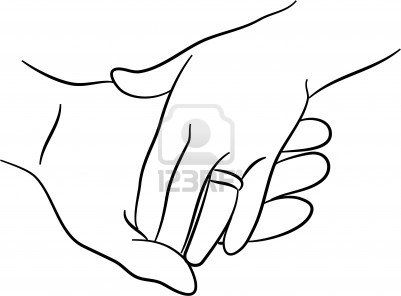 simple holding hands drawing