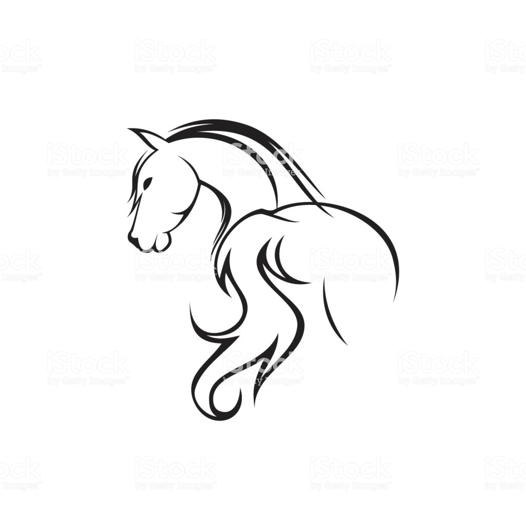 1024x1024 Huge Collection Of 'horse Drawing Black And White' Download More
