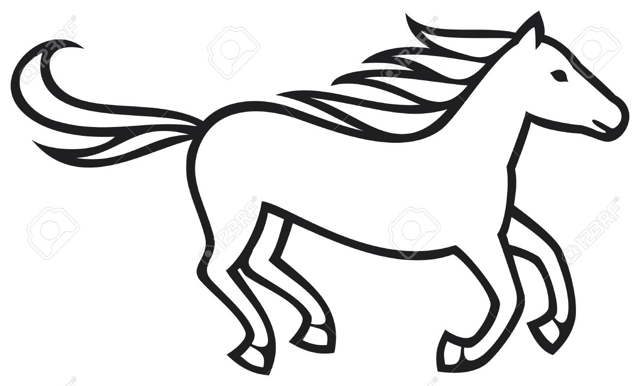 Horse easy. Drawing step by free