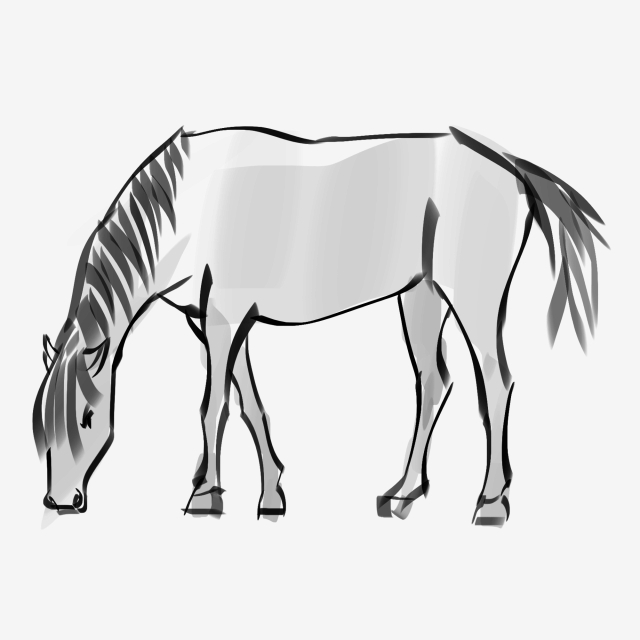 640x640 hand painted ink horse grazing, illustration, chinese style, ink