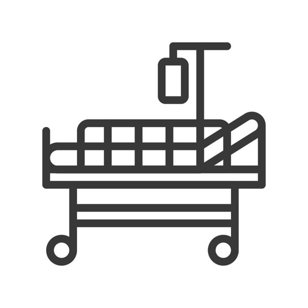 600x600 Hospital Bed And Normal Saline, Outline Icon Art Print