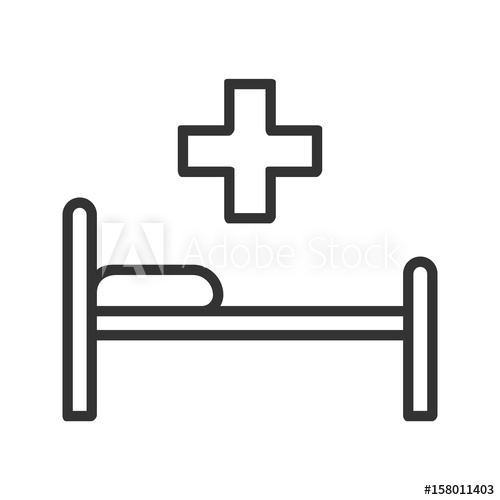500x500 Hospital Bed Linear Icon Thin Line Illustration Vector Isolated