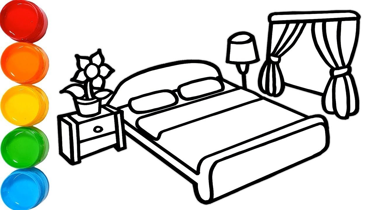 1280x720 Bedroom Drawing And Coloring Pages For Kids Bedroom Painting