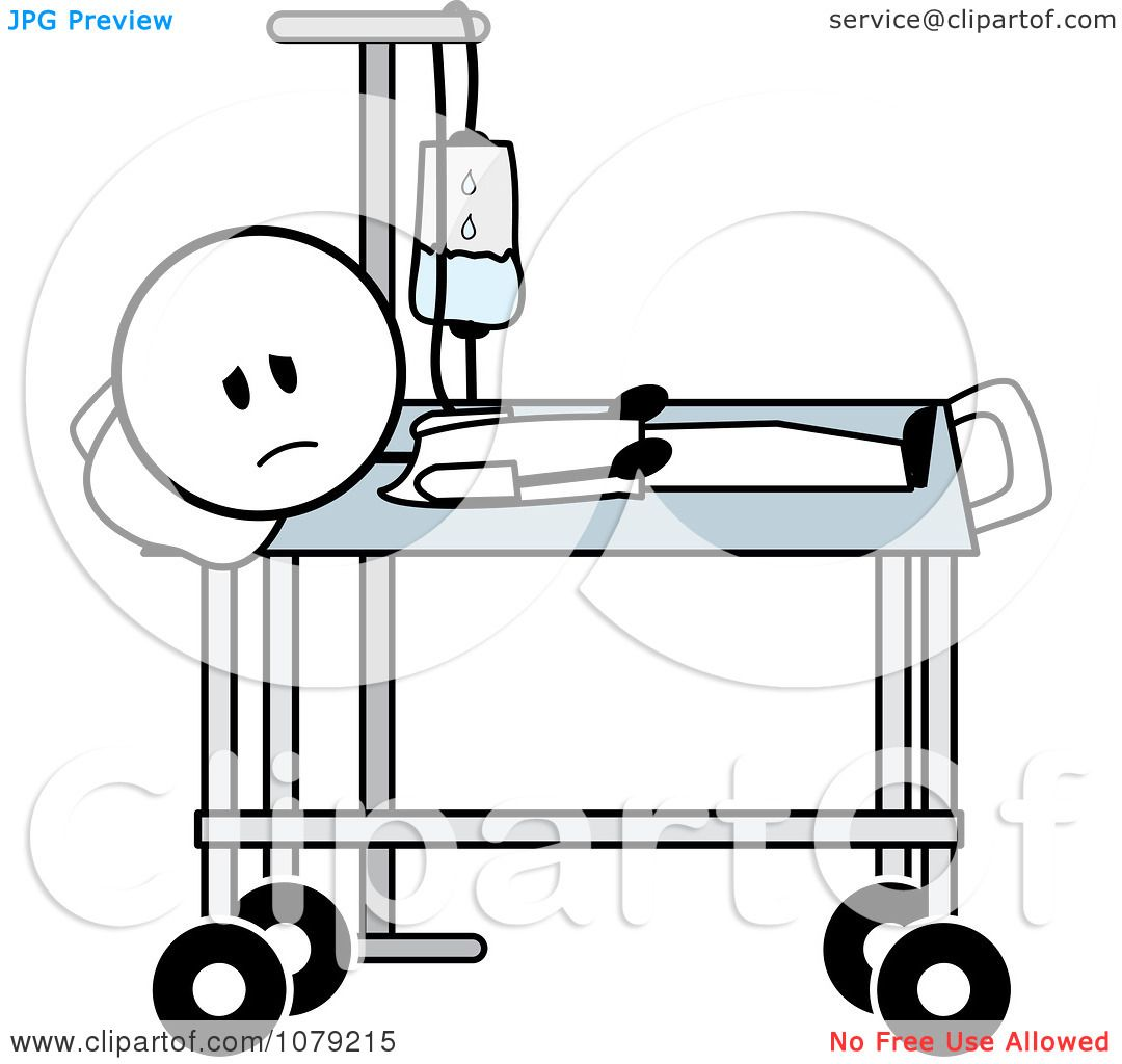 1080x1024 Clipart Sick Stick Man With An Iv In A Hospital Bed
