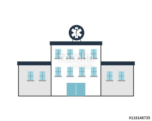500x400 Flat Design Hospital Building Icon Vector Illustration Stock