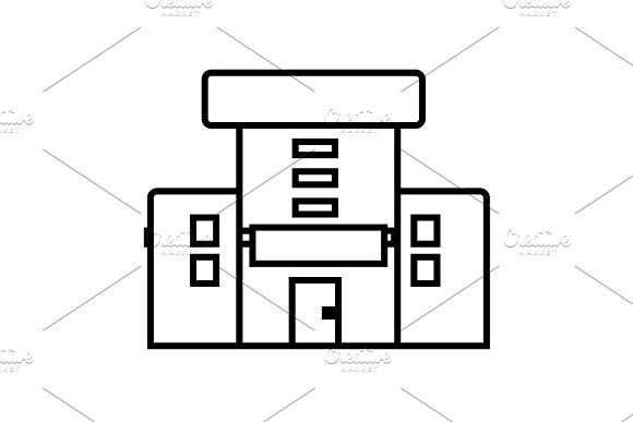 580x387 Hospital Vector Line Icon, Sign, Illustration On Background
