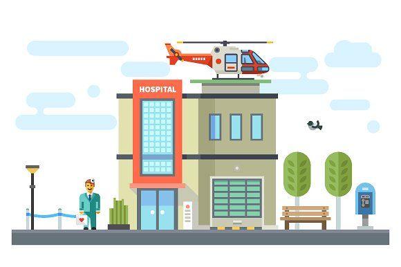 580x386 Building Hospital Set Of Elements