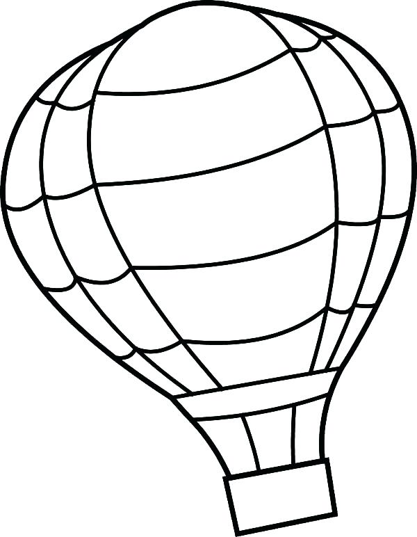600x772 Hot Air Balloon Outline Vector Outline Hot Air Balloon With Banner