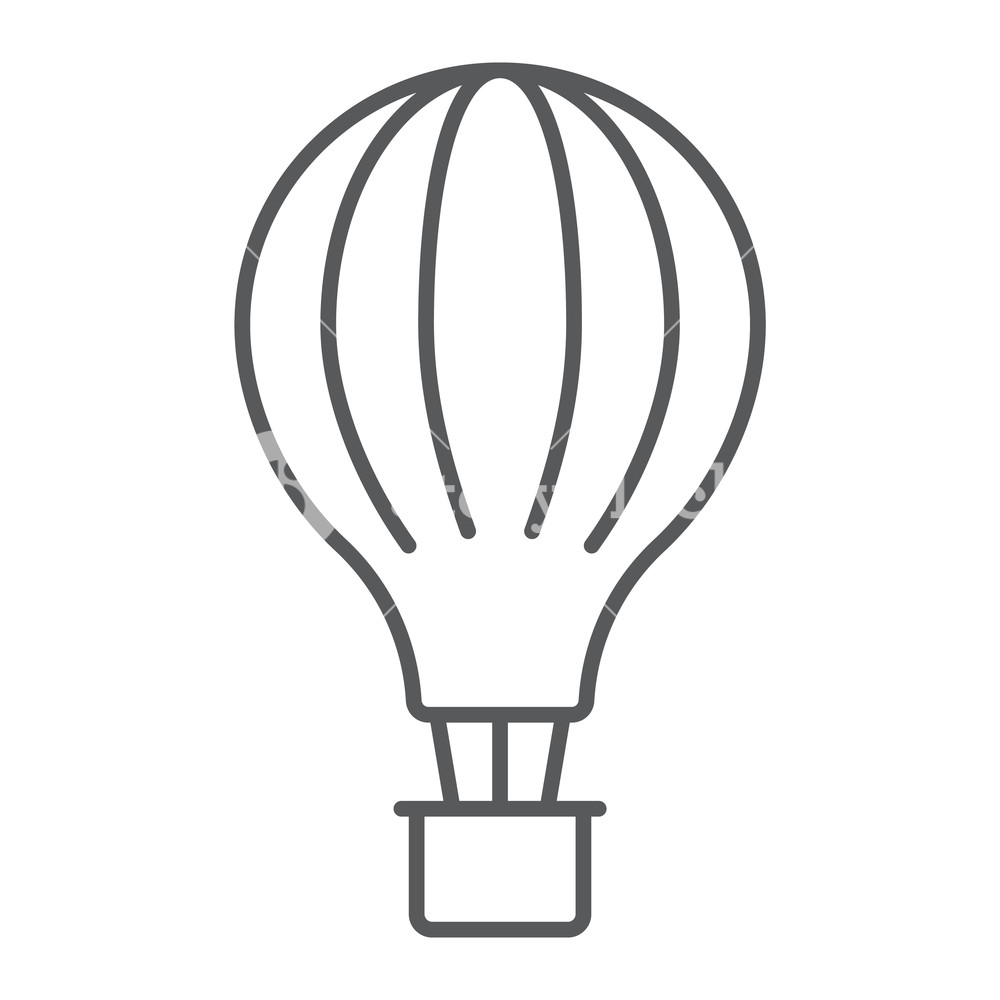 1000x1000 Hot Air Balloon Thin Line Icon, Airship And Flight, Aerostat Sign