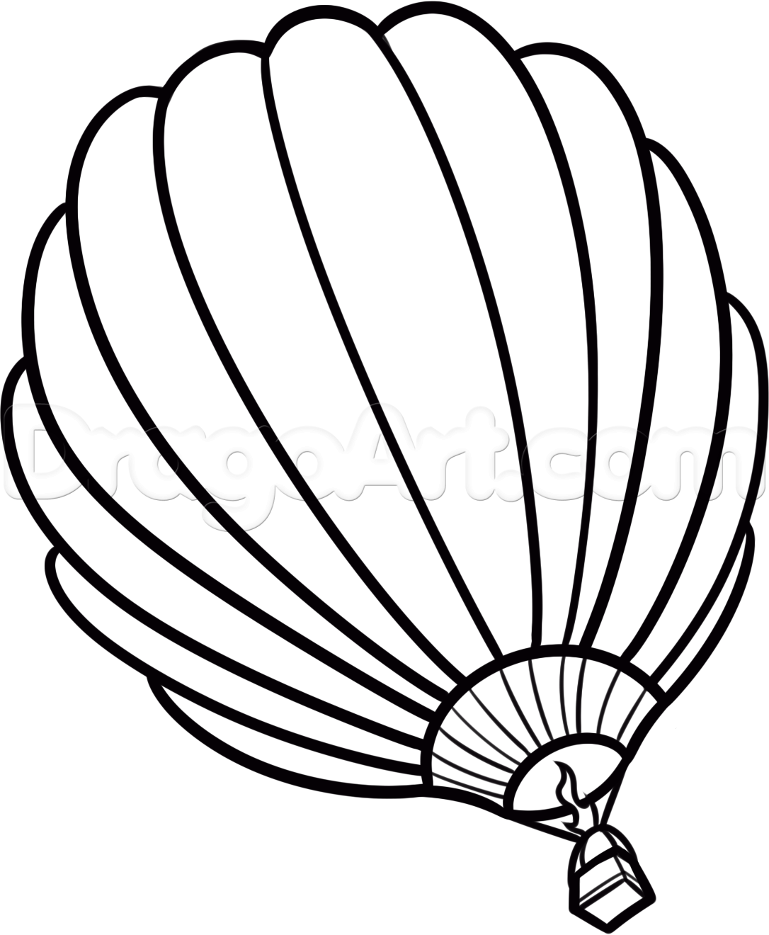 1086x1320 How To Draw A Hot Air Balloon, Step