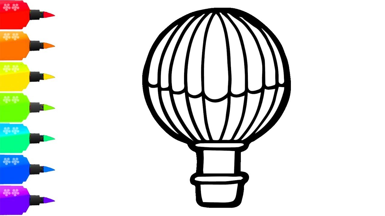 1280x720 How To Draw A Hot Air Balloon For Kids Painting For Toddlers