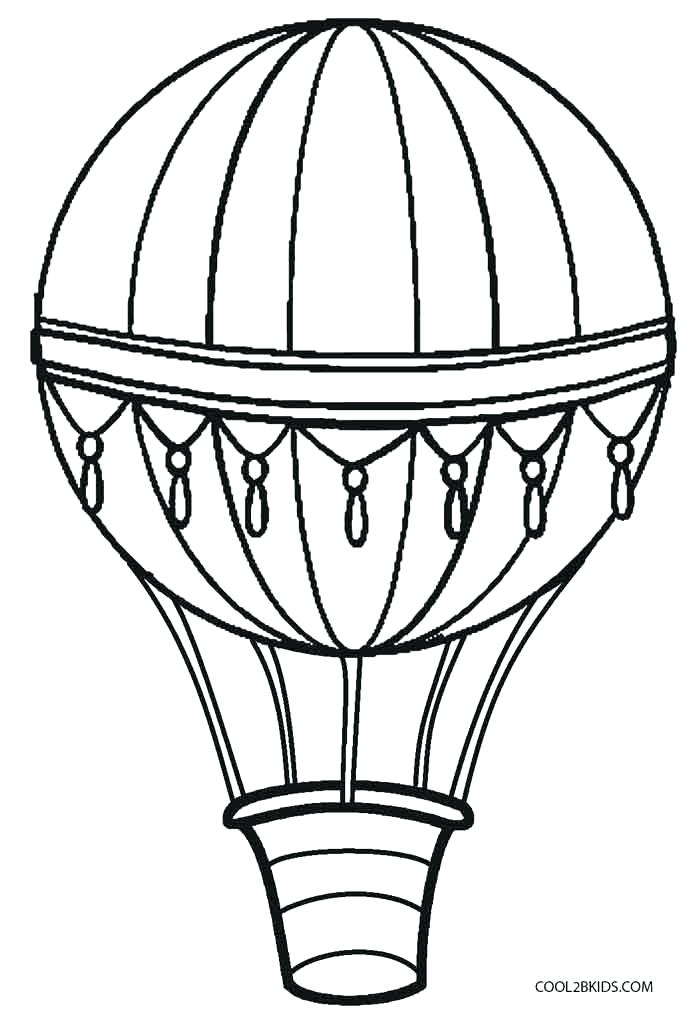 700x1021 Vector Illustration Outline Hot Air Balloon Stock Of On Sky