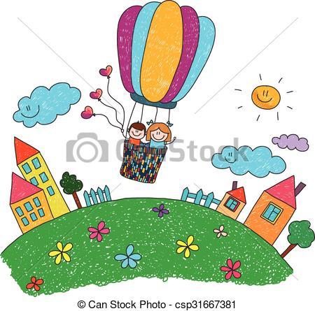 450x445 Cartoon Kids Riding A Hot Air Balloon Cartoon Kids Fly