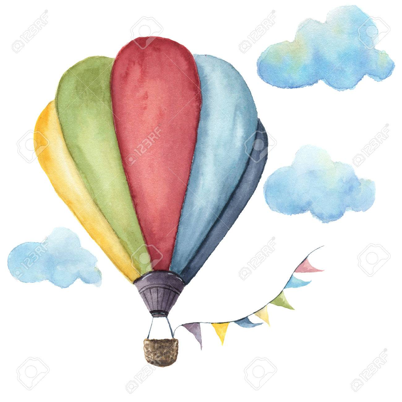 1300x1300 Drawn Hot Air Balloon Watercolor