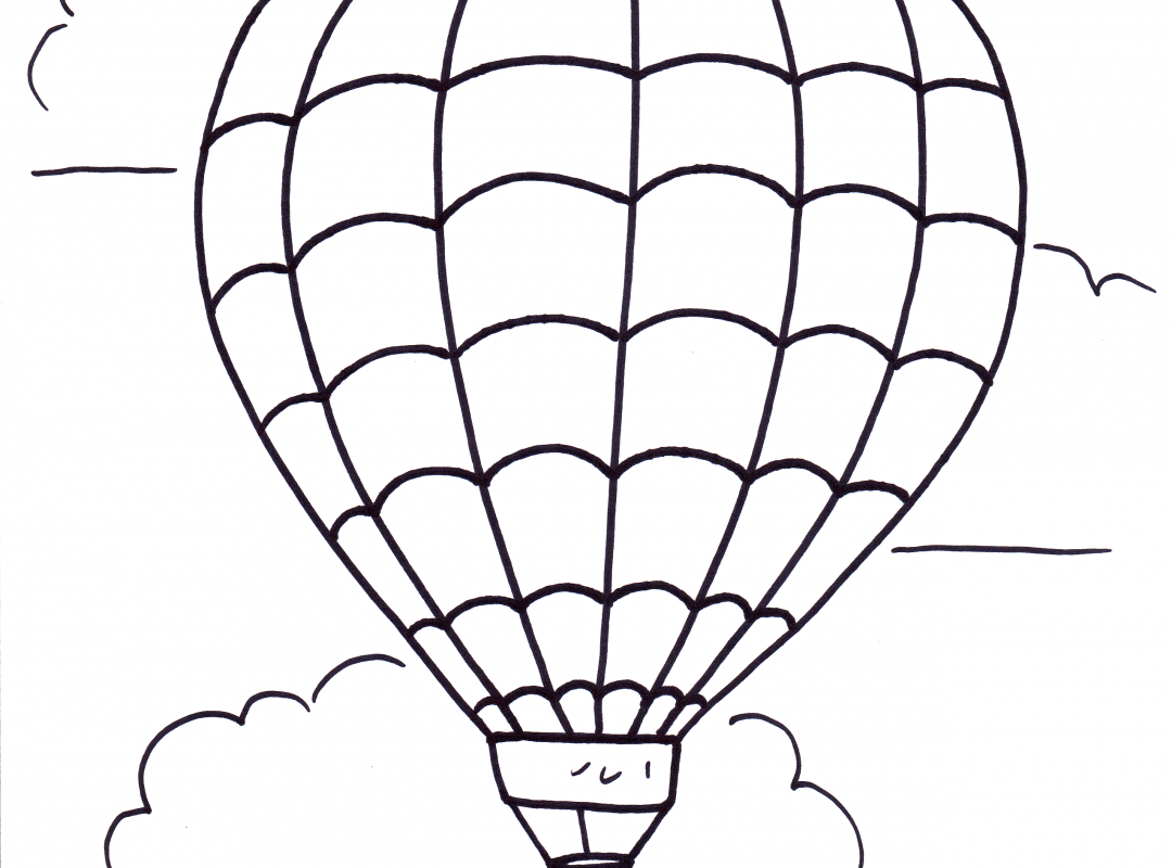 1080x800 Balloon Coloring Pages Blank Hot Air Birthday Colouring