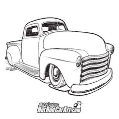 Hot Rod Line Drawing
