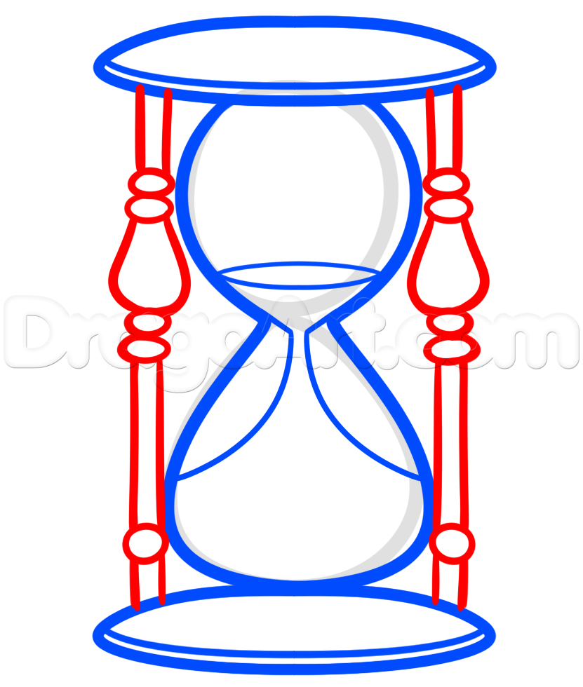 831x980 Hourglass Drawing Lesson, Step