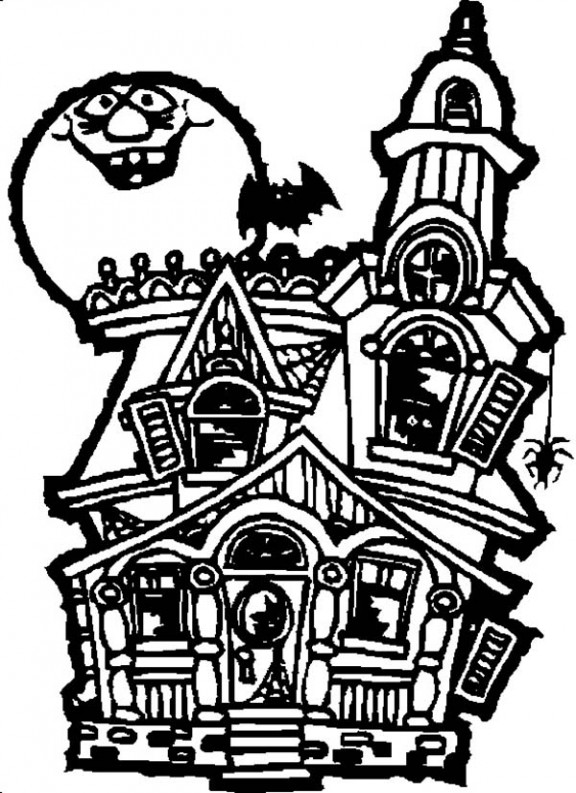 576x793 haunted house printable coloring pages haunted house drawing