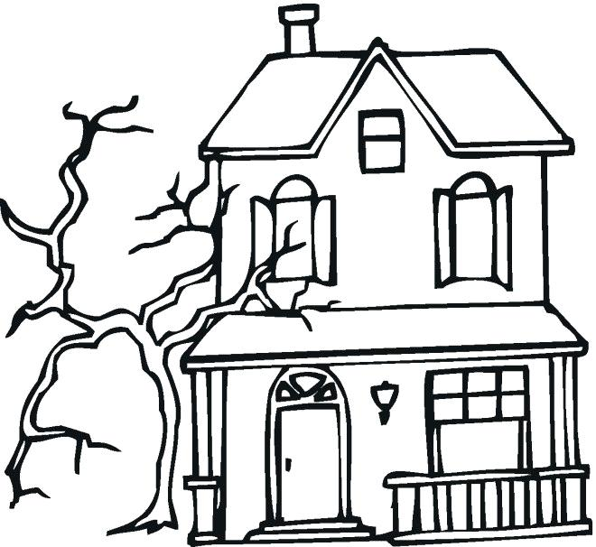 660x606 haunted house coloring haunted house outline printable haunted