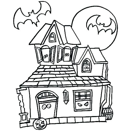 500x500 haunted house coloring how to drawing haunted house coloring