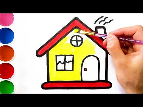 480x360 drawing house and painting with gouache learn colors for kids