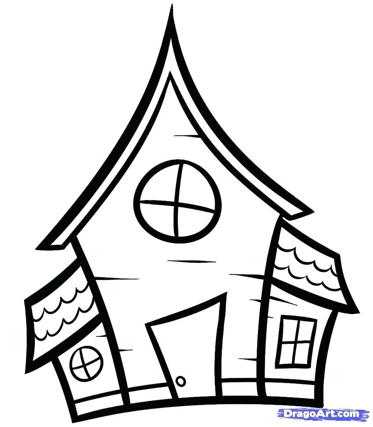 736x843 haunted house outline image titled draw a haunted house step