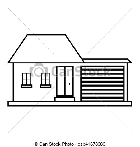 450x470 small house icon, outline style small house icon outline