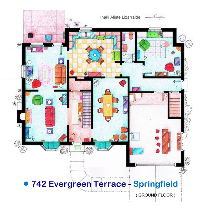 721x722 Detailed Floor Plan Drawings Of Popular Tv And Film Homes