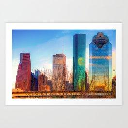 264x264 Houston Skyline Art Prints