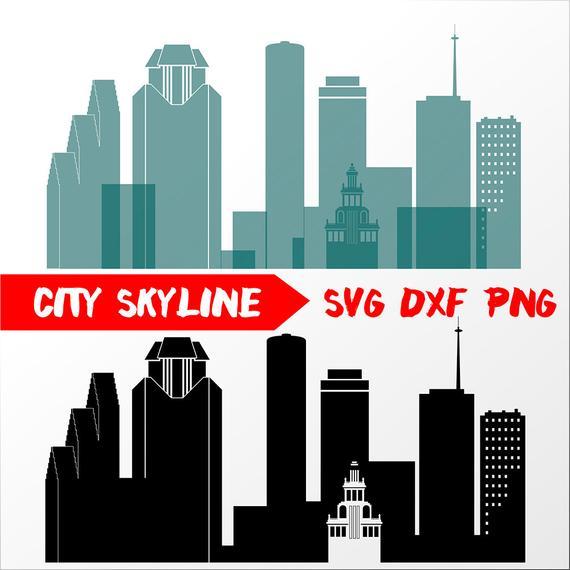 570x570 Houston Vector Skyline Houston Silhouette Dxf Etsy