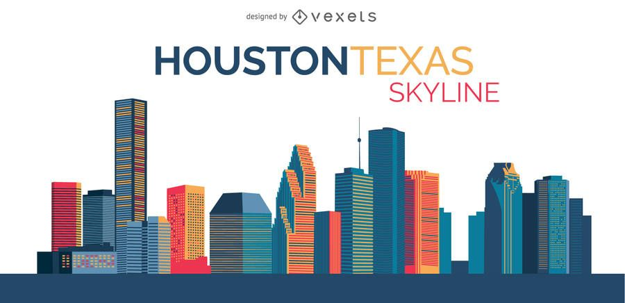 900x436 Skyline Design Illustration Of Houston Texas Featuring Its Classic