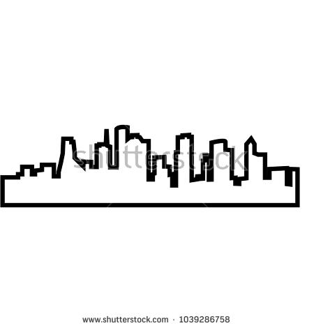 450x470 Houston Skyline Outline Stock Vector Houston Skyline Silhouette
