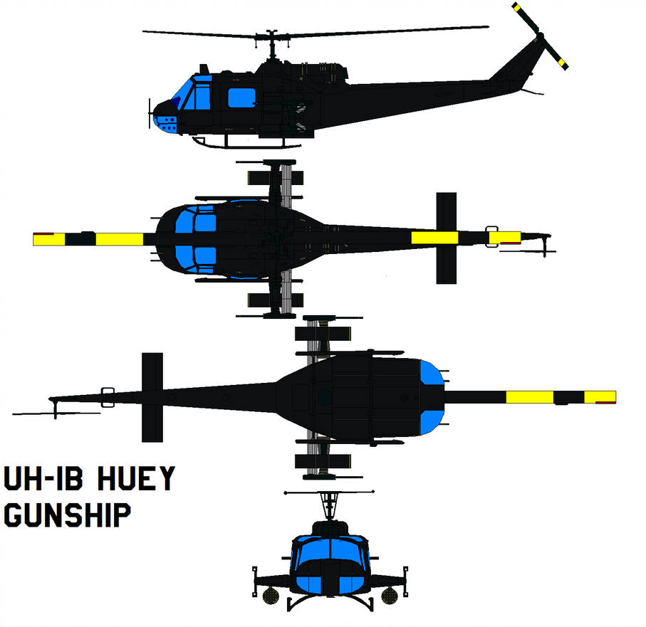 907x881 Uh Huey Gunship