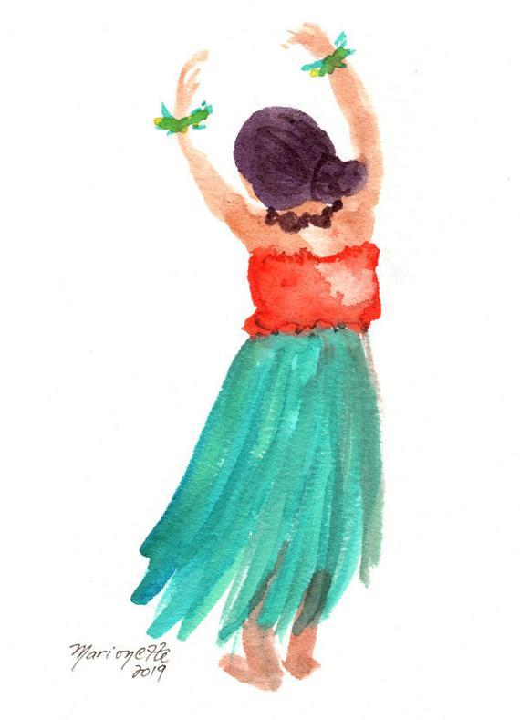 570x789 hula girl watercolor original watercolor painting hula etsy