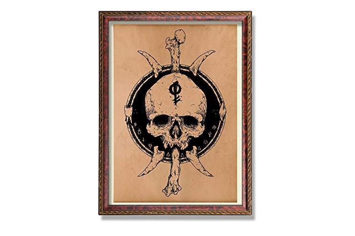 700x466 Tribal Human Skull Art Print Anatomical Poster Anatomy