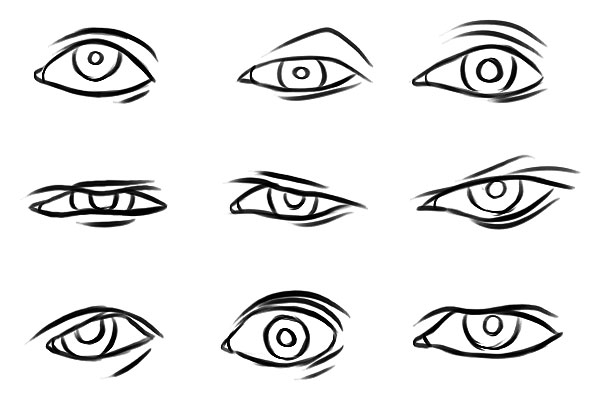 600x400 How To Draw Squinting Eyes Squinting Human Eye Hand Drawn Vector