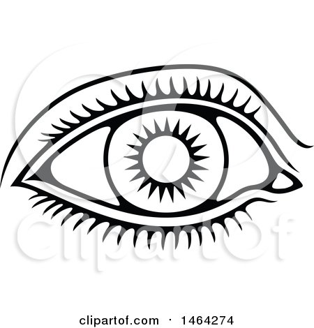 450x470 Clipart Of A Black And White Human Eye