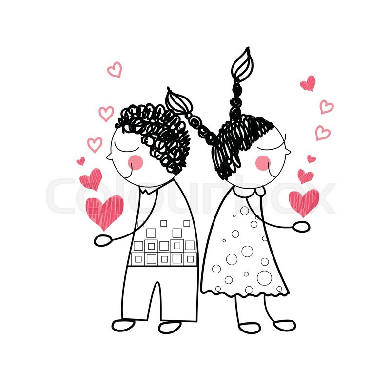800x800 Couple Red Heart Shape Love Holding Stock Vector Colourbox