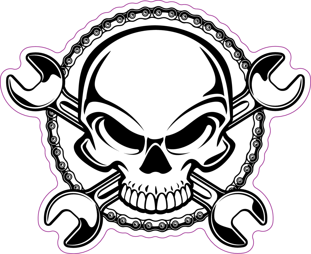 1200x983 Human Skull With Crossing Wrenches And Sprocket Chain Sticker