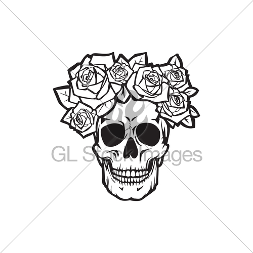 500x500 Human Skull With Roses Black And White Gl Stock Images