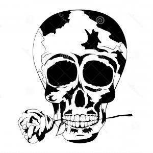 300x300 Stock Illustration Black White Human Skull Rose Mouth Tattoo Skull