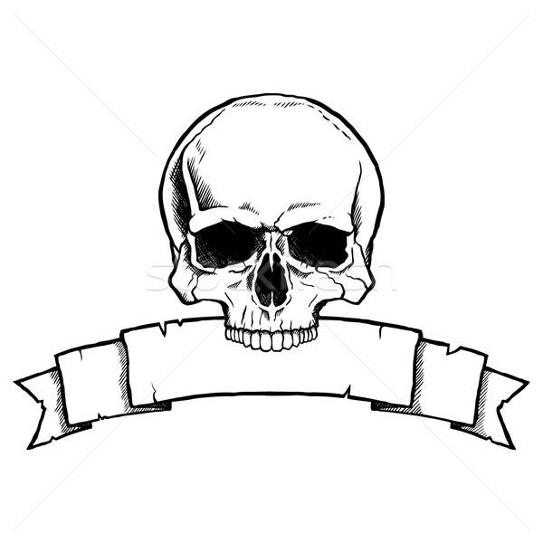 600x600 Black And White Human Skull With Ribbon Banner Vector Illustration