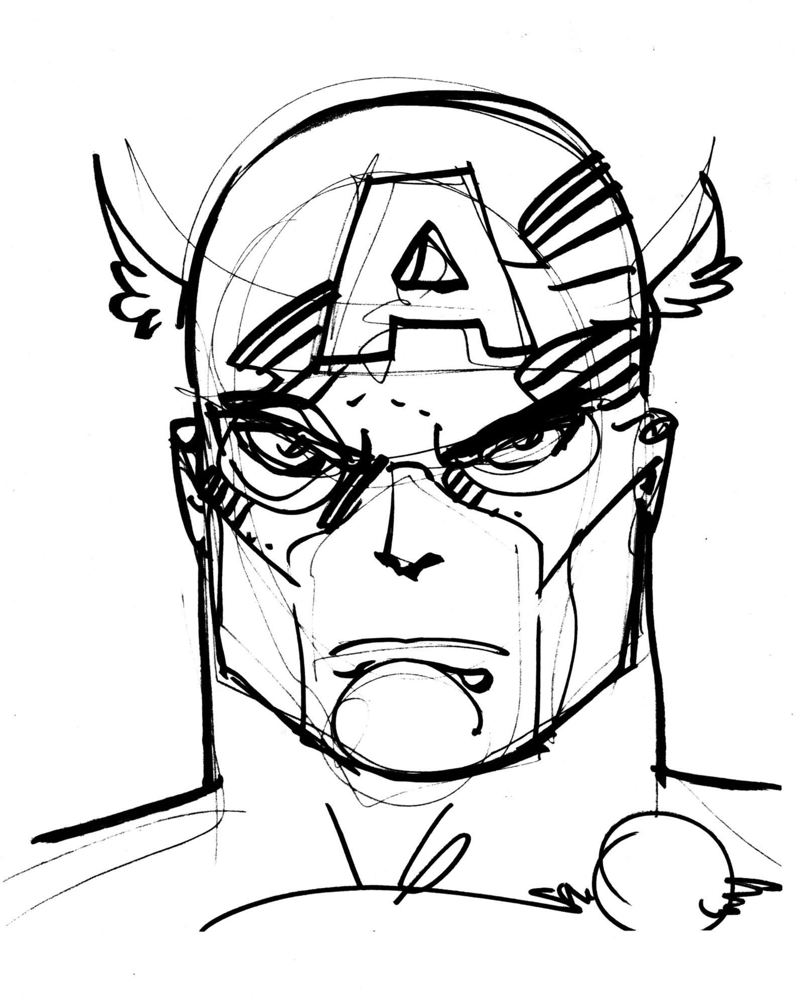 1587x2000 Walt Simonson Inked Captain America Drawing