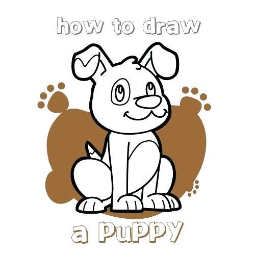 500x500 puppy draw draw cartoon puppy dog retriever husky puppy drawing