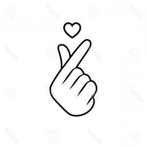 300x300 Korean Finger Heart I Love You Hangul Vector Sohadacouri