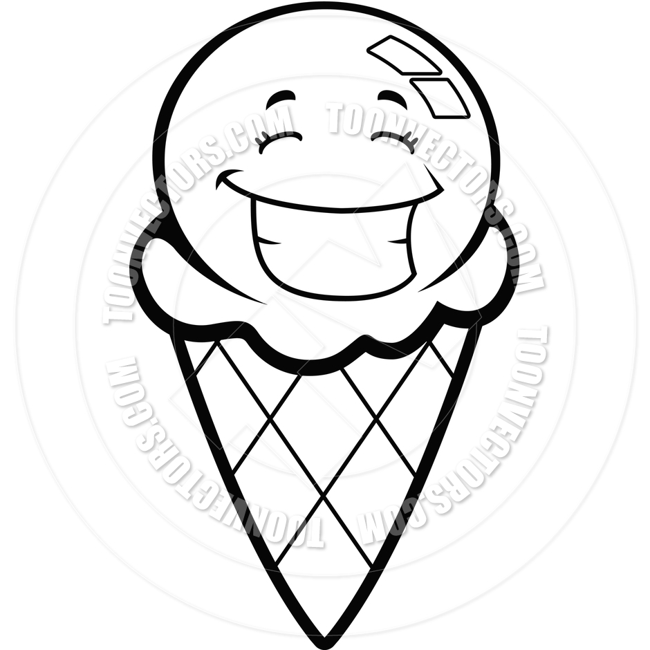 Ice Cream Cone Drawing Black And White