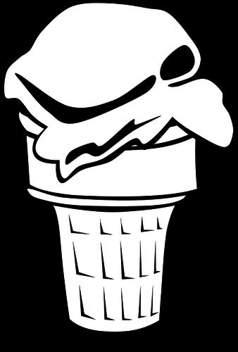 338x500 Cone Ice Cream Vector Drawing
