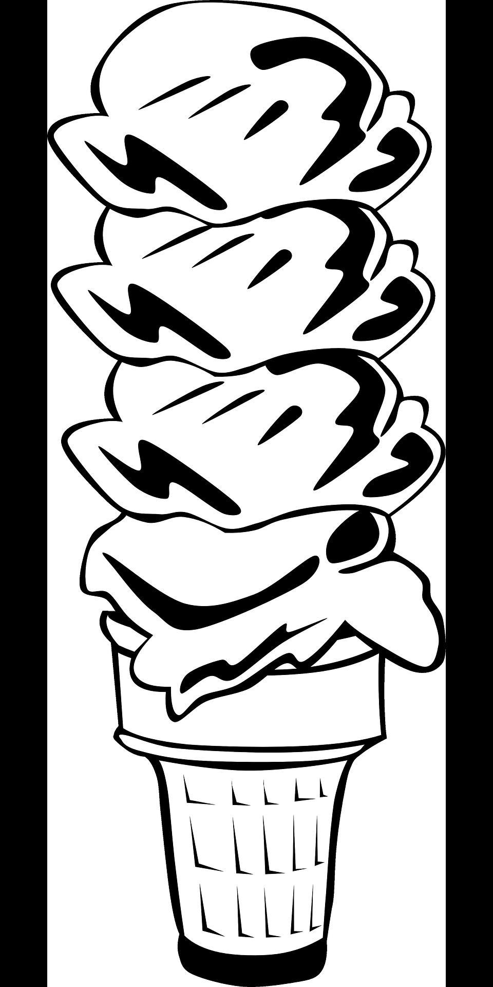 960x1920 Ice Cream Cone Food Dessert Black White Drawing Free Image